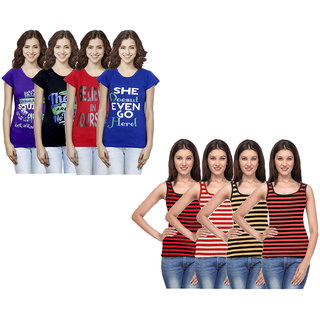 IndiWeaves Women Cotton Printed Tank Top and Half Sleeves T-Shirts (Pack of 8)