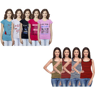 IndiWeaves Women Cotton Printed Tank Top and Half Sleeves T-Shirts (Pack of 9)