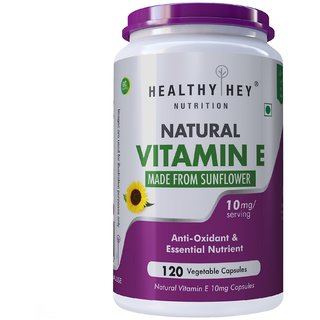 HealthyHey Nutrition Natural Vitamin E from Sunflower - D-Alpha-Tocopherol - 10mg - 120 Veg Capsules