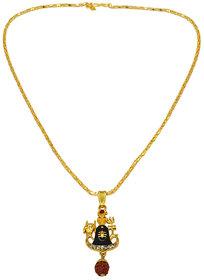 Men Style  Religious Jewelry Lord Shree Shiva Ji Trishul Pind Gold-plated Beads Wood, Brass, Metal Pendant Set