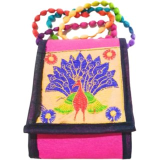 588f5982212 Metalcrafts Rajasthani embroidered sling mobile bag, multi color, 2  compartment with zip inside, handmade. 27 cm05
