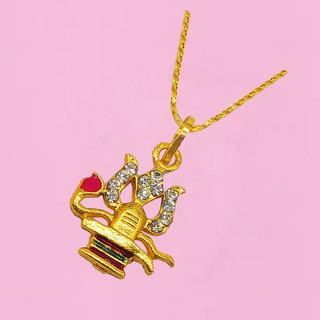 Men Style  Lord Shiv Ji Mahadev Bholenath Shiv Ling Trishula Locket With Chain Gold-plated Cubic Zirconia Brass Pendant