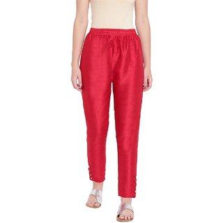 RIVI Stylish Women's Red Cotton Silk Trousers
