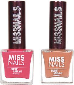 Miss Nails Brink Pink  Rusty Road Sugar Matte Series nail Polish combo pack 8 ml each