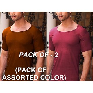 (PACK OF 2)  Men's Stylish  Comfort 100 Soft Combed Cotton color RNS Half Sleeve Undershirt Vest - Multi-Color.