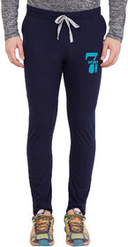 Cliths Men's Navy Blue Full Length Cotton Printed Track Lower