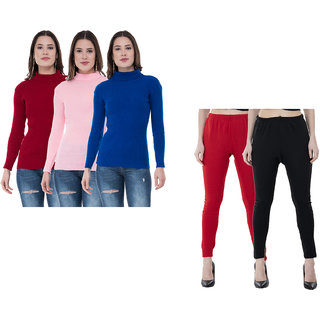 IndiWeaves Women Winter Warm Wollen Legging and High Neck Skivvy (Pack of 5)