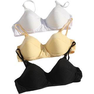 Tkeshto Soft Padded Bra Pack of 3/Superior Quality/Easy Stretch/Comfort fit