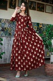 Dhruvi Party Wear Rayon Long Maxi Dress and Kurta for Women