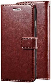 Flip Cover for Vintage Look Leather Flip Wallet Case for Oneplus 5  Brown, Dual Protection