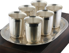 Silver Shine Silver Plated Self Textured Designer Water or Soft Drink Glasses Set of 7 With Tray