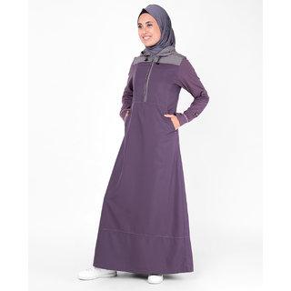 SILK ROUTE London Purple Hooded Kangaroo Pocket Polyester Sporty Abaya Maxi Dress Jilbab For Women Height 5'6 inch, Jilbab Length 58 inch