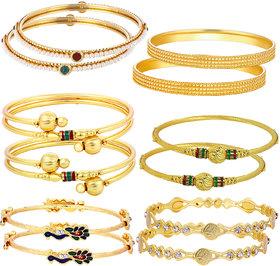 Sukkhi Sensational Gold Plated Alloy Yellow Bangles Set for Women (Set of 12)