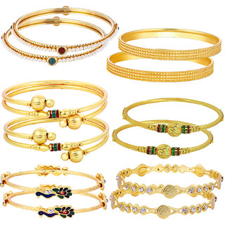 Sukkhi Sensational Gold Plated Alloy Yellow Bangles Set for Women (Set of 12)