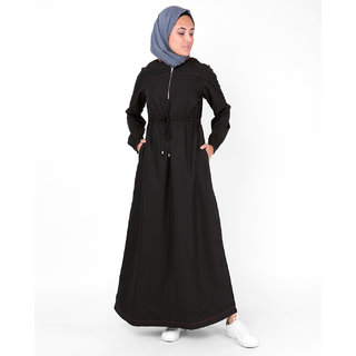 SILK ROUTE London Baseball Collar Drawstring Black Polyester Abaya Maxi Dress Jilbab For Women Height 5'0 inch, Jilbab Length 52 inch
