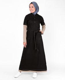 SILK ROUTE London Black Tie Up Contrast Sleeve Cotton Abaya Urban Maxi Dress Jilbab For Women Height 5'2 inch, Jilbab Length 54 inch