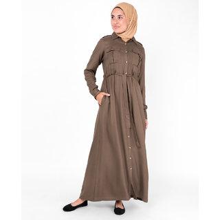 SILK ROUTE London Teak Brown Full Front Open Urban Viscose Abaya Maxi Dress Jilbab For Women Height 5'6 inch, Jilbab Length 58 inch
