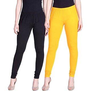 Aadikart Womens Black and Yellow Cotton Leggings