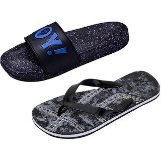 IndiWeaves Men Rubber Hawaii House Flip-Flops Slippers (Pack of 2)