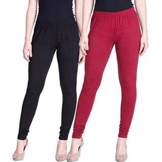 Aadikart Womens Black and Maroon Cotton Leggings