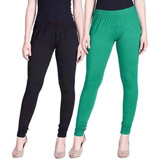 Aadikart Womens Black and Green Cotton Leggings