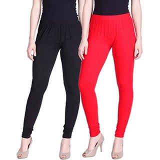 Aadikart Womens Black and Red Cotton Leggings