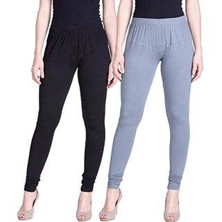 Aadikart Womens Black and Grey Cotton Leggings