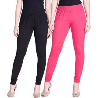 Aadikart Womens Black and Pink Cotton Leggings