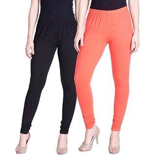Aadikart Womens Black and Orange Cotton Leggings