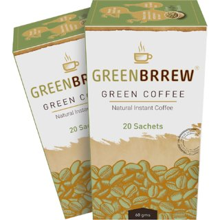 Greenbrrew Green Coffee Beans Extract (Natural Flavor) - 60g Each (Pack of 2, 20 Sachets per Pack)