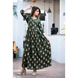 Dhruvi Party Wear Rayon Long Maxi Green Dress and Kurta for Women