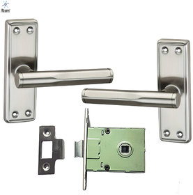 Atom G-7 Baby Latch Stainless Steel made Mortise Pair with Iron latch  S.S Finish (Bathroom pair Set) (Size  5 Inches)