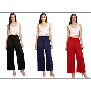 Vkaran Red and Blue and Black Lycra Plain Pack of 3 Palazzo