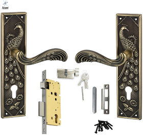 Atom Mayur Zinc Made Cylindrical Lock Type Mortise Handle Set with Cylindrical One Side Knob One Side Key Lock (3 Brass Made Keys) Brass Antique Finish (Size  9.5 Inches) Complete Door Lock Set