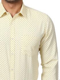 Royal Fashion Men Dotted Yellow Regular Fit Shirt