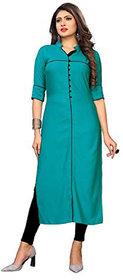 Fabclub Women's Rayon Solid Plain Straight Kurti (Turquoise)