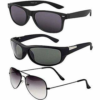Debonair UV Protected Wayfarer Aviator Unisex sunglasses Combo of 3 (Grey, Black)