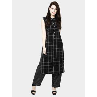 Fabclub Women's Cotton Checks Kurta and Palazzo Set (Black)