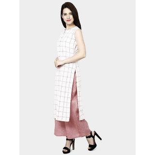 Fabclub Women's Cotton Checks Kurta and Palazzo Set (White and Pink)