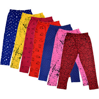 IndiWeaves Girls Cotton Printed Capri (Pack Of 7)