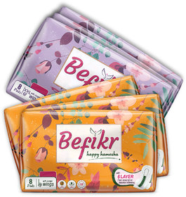 Befikr Sanitary Pads with Japanese Technology 3 L  3 XXL 48 Sanitary Pads Pack of 6