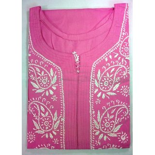 Colonial Lucknowi Chikan Regular Wear Cotton Kurta Kurti Pink color with White kadhai