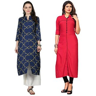 Fabclub Women's Rayon Straight Kurti (Pack Of 2) (Blue, Red)