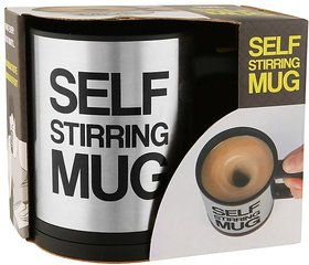 Automatic Mixing Battery Operated Self Stirring for Tea, Coffee, Hot Chocolate, Soup 400ml Stainless Steel Mug  (400 ml)