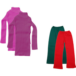 KAVYA Girls Winter Wear Super Warm High Neck Skivvy and Woolen Palazzo (Pack of 4)