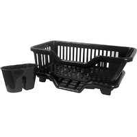 3 in 1 Kitchen Sink Dish Drainer Drying Rack Washing Holder Basket Organizer with Drain Tray and Cutlery Holder- Black