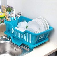3 in 1 Kitchen Sink Dish Drainer Drying Rack Washing Holder Basket Organizer with Drain Tray and Cutlery Holder-skyblue