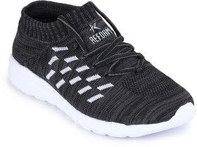 REFOAM Men's BLACK & WHITE FLYKNIT Running Sport Shoes