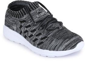 REFOAM Men's GREY  BLACK FLYKNIT Running Sport Shoes
