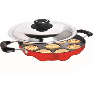 CIMORA 12 Cavities Appam Patra Non Stick with Lid,Red (Paniyarrakal/Paniyaram/Appam Pan)